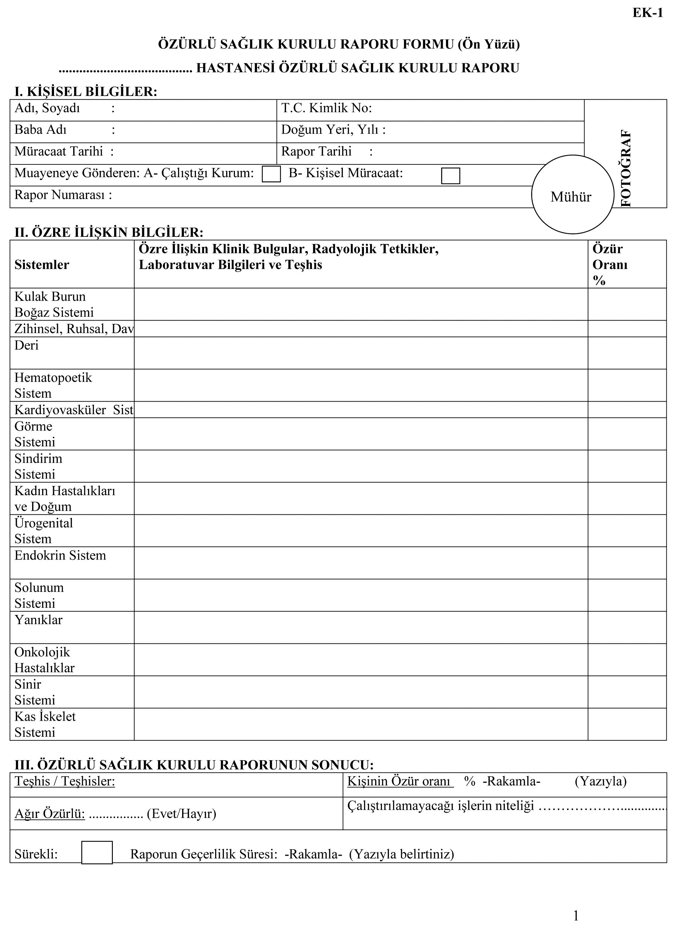 Özürlü sağlik kurulu raporu formu arka yüzü