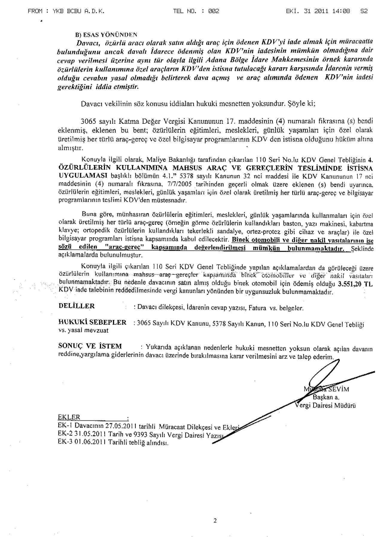 Bursa Vergi%20mahkemesi 02 - Sakat statüsünde alınan araç için ödenen KDV'nin geri alınması işlemleri ve süreç
