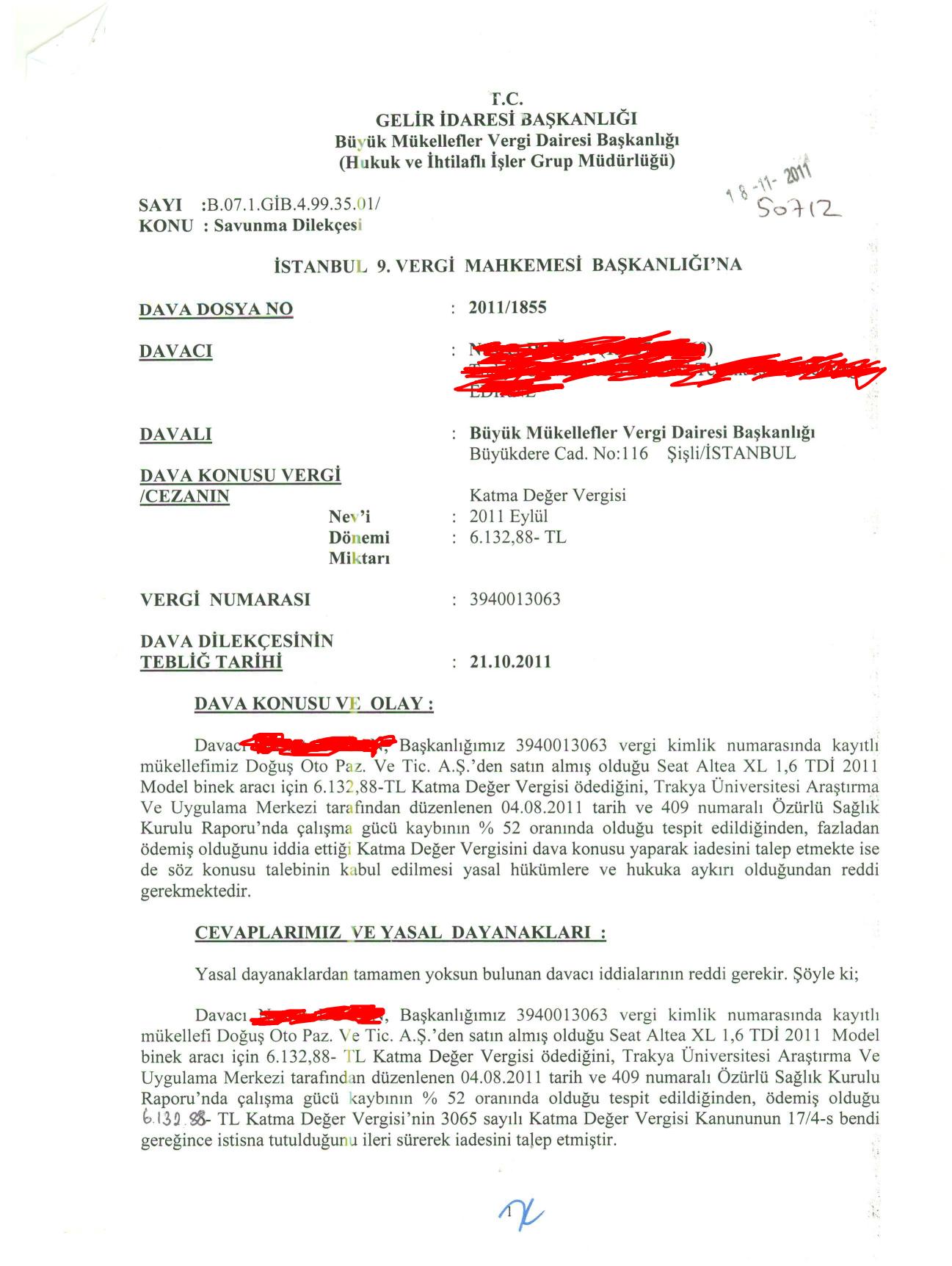 Istanbul BMVD savunma1 - Sakat statüsünde alınan araç için ödenen KDV'nin geri alınması işlemleri ve süreç