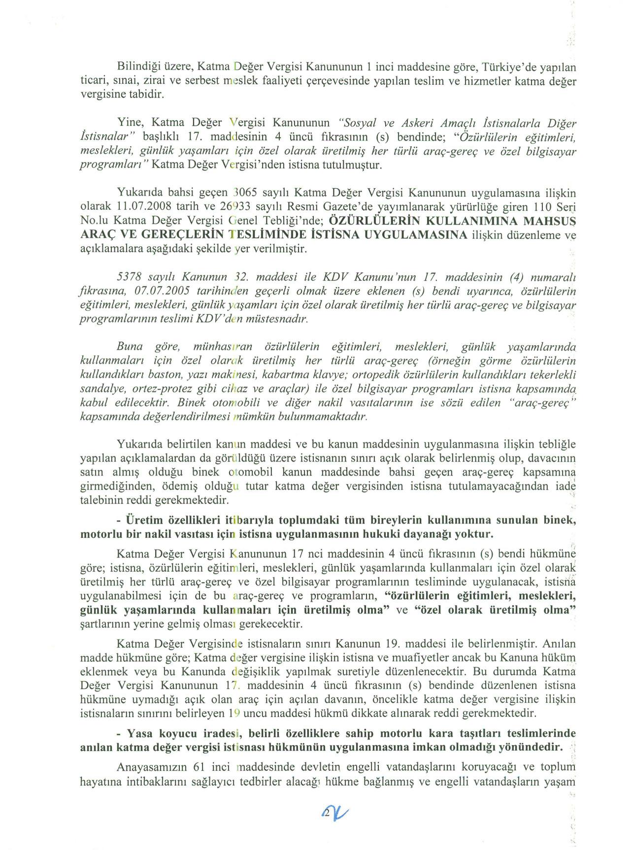 Istanbul BMVD savunma2 - Sakat statüsünde alınan araç için ödenen KDV'nin geri alınması işlemleri ve süreç