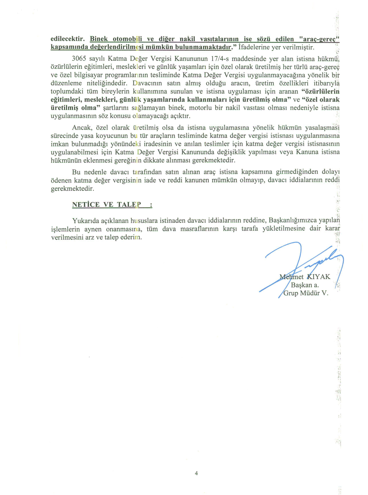 Istanbul BMVD savunma4 - Sakat statüsünde alınan araç için ödenen KDV'nin geri alınması işlemleri ve süreç