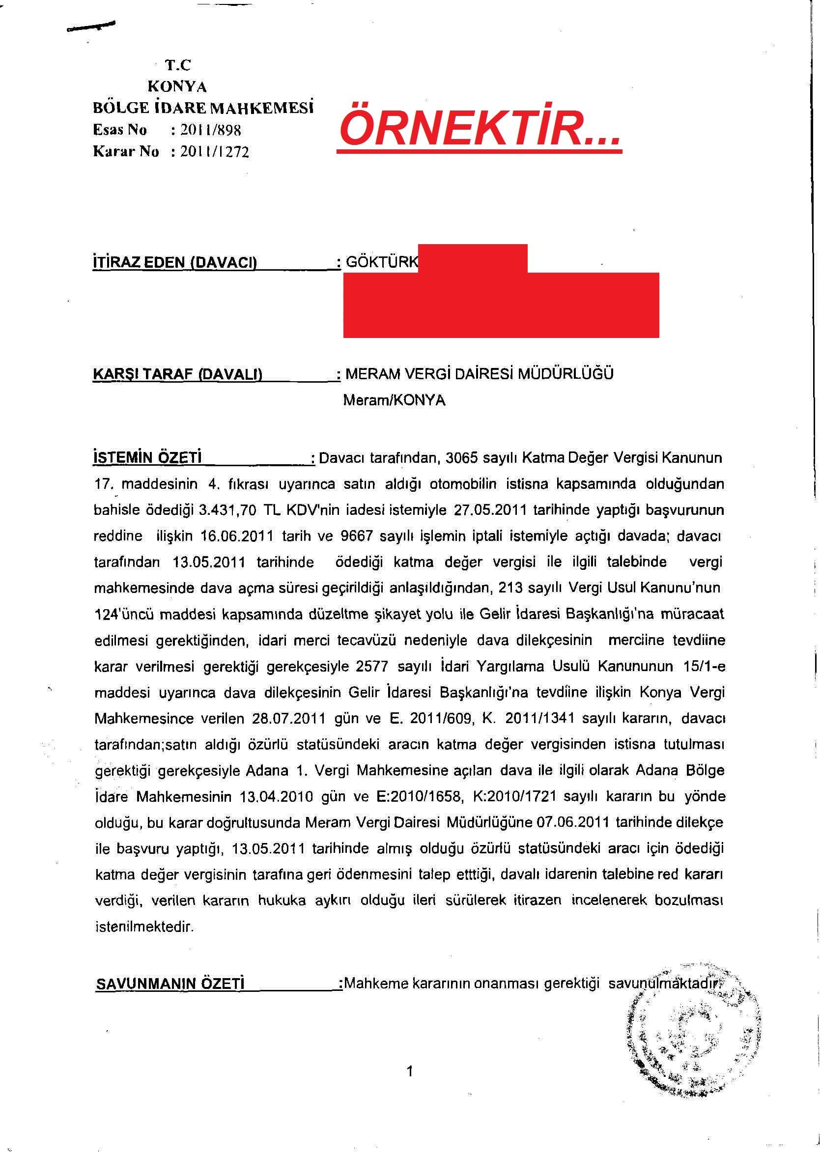 konya bolge idare1 - Sakat statüsünde alınan araç için ödenen KDV'nin geri alınması işlemleri ve süreç