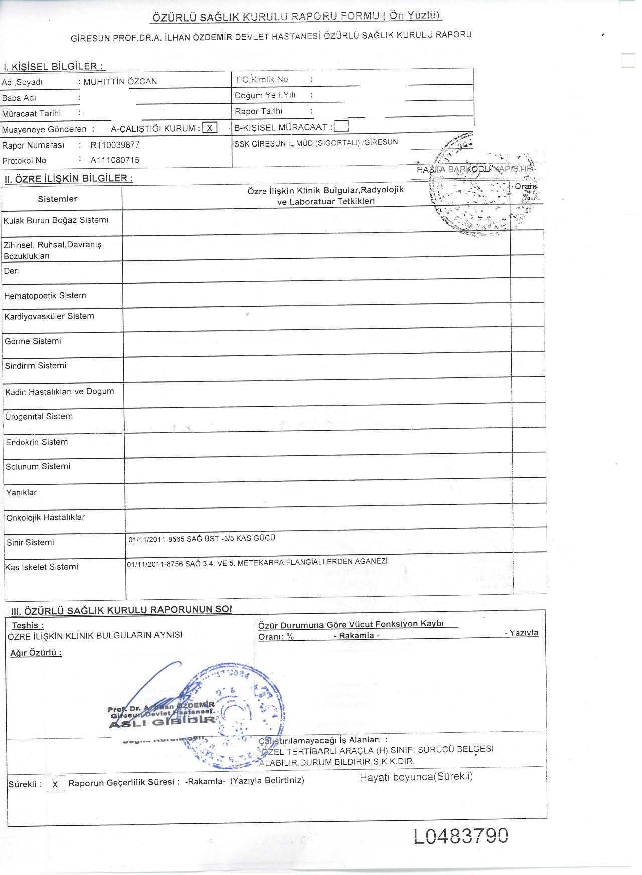 sag kol ehliyet raporu3 - Koldan-Elden (üst ekstremiteden) sakatlığı bulunup sürücü belgesi ve araç için rapor?
