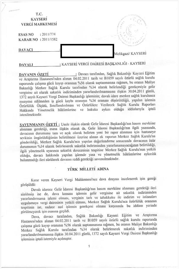Maliye rapor dava 1 - Vergi indiriminde hastanenin verdiği rapor geçerlidir (Mahkeme kararı)
